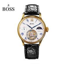BOSS Germany watches men luxury brand limited edition automatic tourbillon movement layer alligator belt white relogio masculino