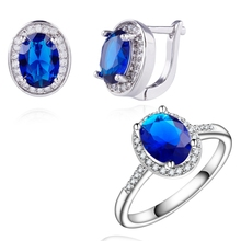 Yunkingdom trendy Jewelry Sets for women white Gold Color Wedding Earrings Blue zircon crystal Rings Set  wholesale LPG6