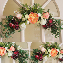 Buy Wreaths Rose Artificial flower garland Wall Mounted Hanging Baskets Door Lintel Flower wedding decoration wedding car decoration for $27.36 in AliExpress store