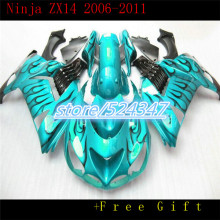 HHMarket hot sales manufacturers ZX 14 r 6-11 ZX 1400 kawasaki ninja ZX14R smooth emerald motorcycle fairing black flames-Hey(China)