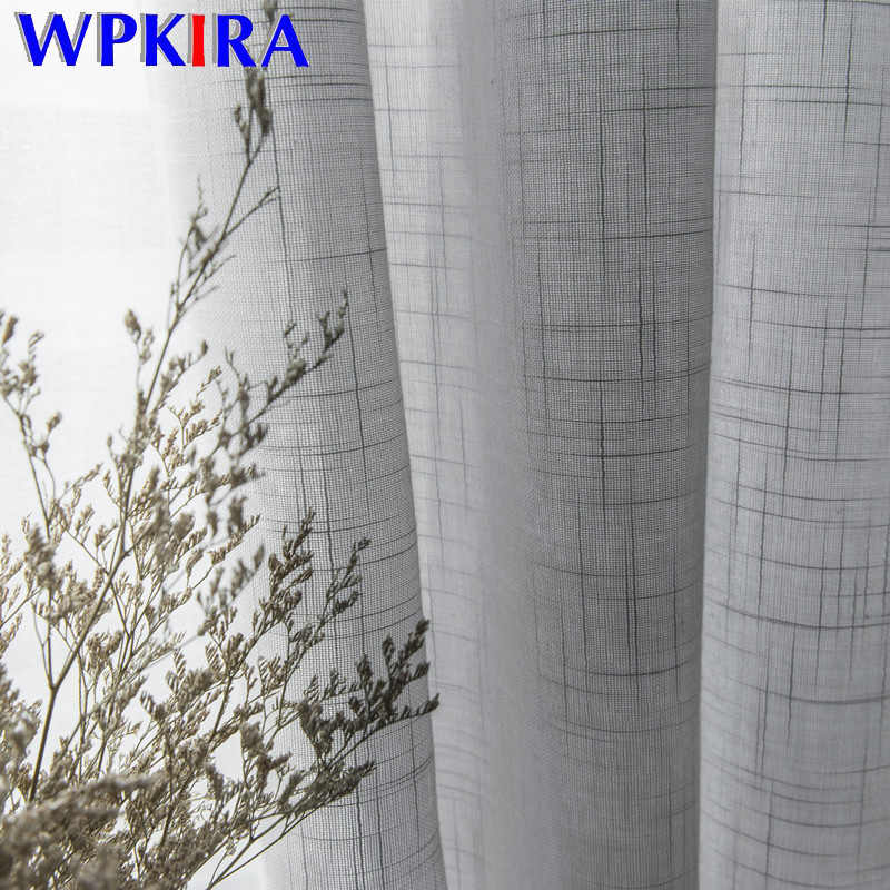 White Cotton Linen Tulle Curtains Fabrics Grey Stripe Tulle for Living Room Kitchen Balcony Gray Sheer Decorative Hotel HC087-30