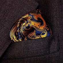 25cm Paisley Silk Handkerchiefs Woven Blue Gold Pocket Square Men's Business Casual Square Pockets Handkerchief Wedding Hankies(China)