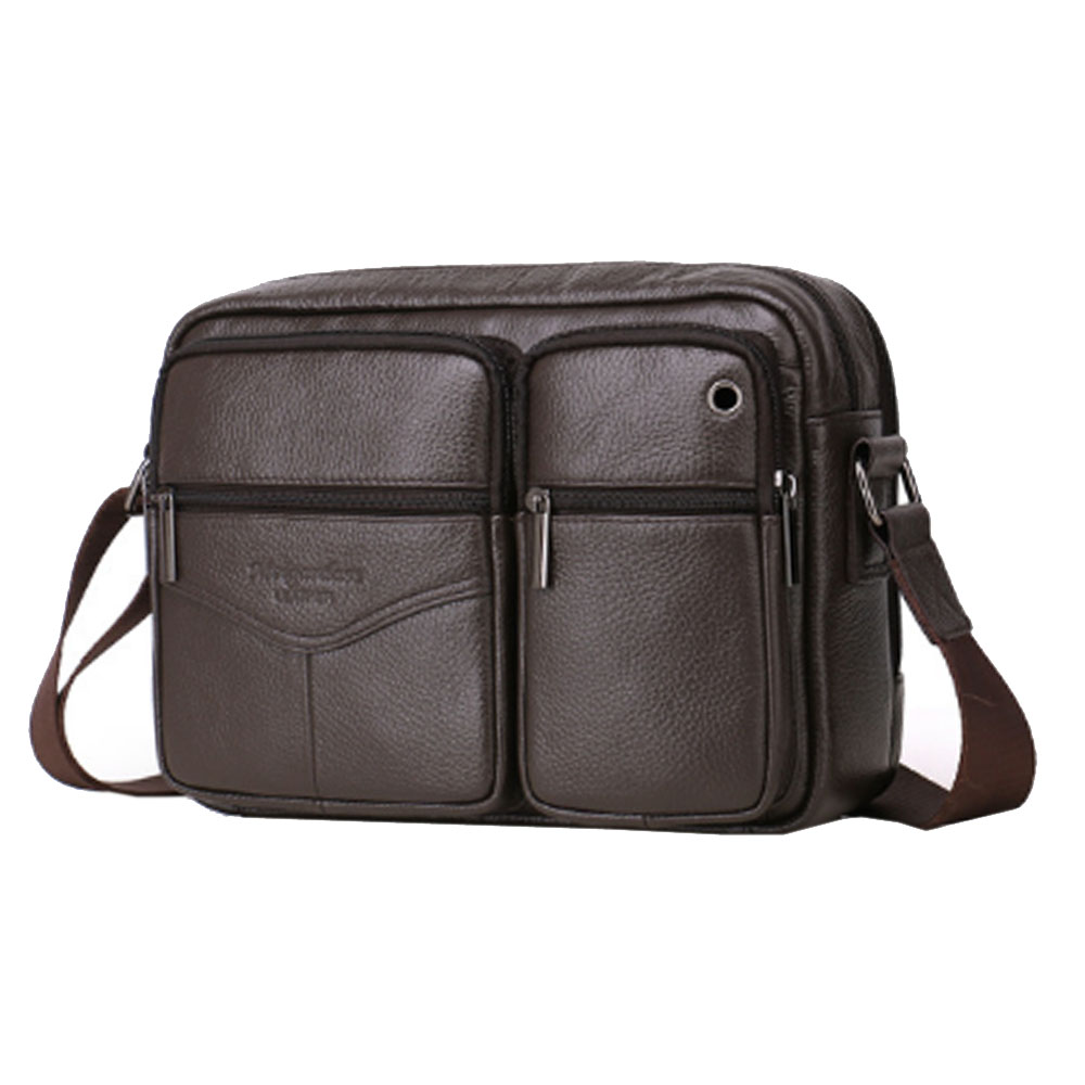 Mens Genuine Leather High Quality First Layer Cowhide Fashion Crossbody Bag Casual Business Messenger Shoulder bag New<br>