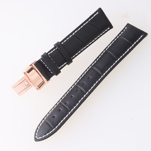 New Design Durable Watchband 20mm Genuine Leather Rose Gold Clasp Deployment High Quality Watch Bracelet Strap Black/Brown(China)