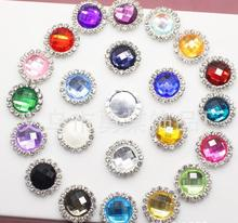 Acrylic buttons !1000pcs/lot 21mm 22colors round metal rhinestone pearl button wedding embellishment headband DIY accessory
