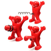 Creative Happy Red Man Beer Wine Opener and Stopper Multifunction Stainless Steel Soda Bottle Bar Tools Novelty Cork Plug(China)
