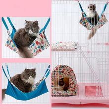 Reversible Cotton Cat Hammock Fish Patterns Bed Used in the Cage For Summer Bed Cover Bag Soft Bed Cages For Pet Kitten Cat(China)