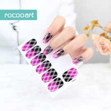 Beauty 2017 Non-Toxic Self-Adhesive Nail Art Stickers Gradient Color Plaid Full Nail Foil Wraps Decal Glitter Nail Tip Sticker(China)