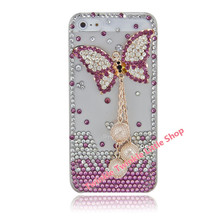 Free Shipping Handmade Cute Butterfly 3D Bling For iphone 5s case Crystal Diamond Hard Back Skin Phone Cases For iphone 5 case(China)