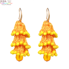 JUJIA 12 color earrings For aretes largos baroque big long earrings for women pendantes christmas drop dangling crystal earrings(China)