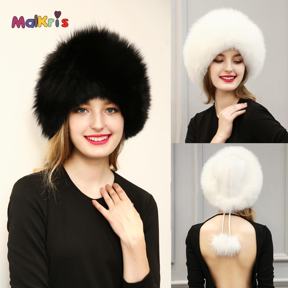 Winter Mink Fur Beanies Cap With Fox Fur Pompoms For Women Thicken Warm Hat Female Cap Winter Leather Real Mink Fur Hat LadiesОдежда и ак�е��уары<br><br><br>Aliexpress