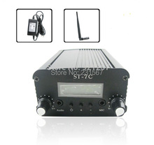 7W/1W FM stereo PLL transmitter +Small Antenna + Power supply Free shipping