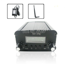 7W/1W FM stereo PLL transmitter +Small Antenna + Power supply Free shipping(China)