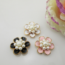(BT216 24mm)5pcs 3 colors metal flatback flower oil drip rhinestone buttons wedding bouquet(China)