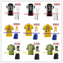 AAA 2017 HOT SALES 2018 BEST QUALITY KIDS JUVENTUSES SOCCER JERSEY KIT + SOCKS 17 18 HOME AWAY BLUE 3RD WHITE CHILD SHIRT(China)