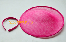 NEW Hot pink sinamay base 1.3cm satin headband  fascinator hat kentucky derby,wedding,Melbourne Cup.