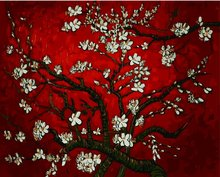 "Art Story Wooden Framed 16"" x 20"" Paint by Numbers Diy Painting The Red Almond Tree"