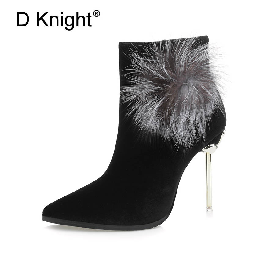Sexy Pointed Toe High Heels Women Ankle Boots Fashion Rabbit Fur Decoration Winter Boots For Women New Ladies Thin Heels Boots<br>