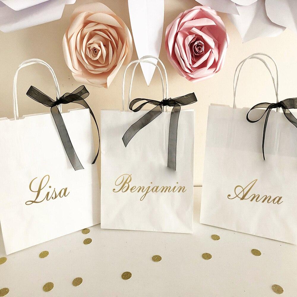Nombre De Oro Rosa personalizado Pegatina Vinilo Calcomanía Botella de Agua Caja de regalo de boda