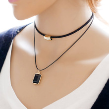 DANZE Fashion Black Imitation Leather Small Crystal claires Pendant Chocker Necklace For Women Girls rhinestone Jewelry(China)