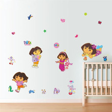 ^ dora decals cartoon wall stickers for kids room decorative sticker home decorations diy removable pvc comic Animal flower art