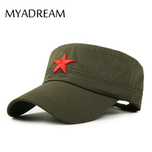 MYADREAM 3D Red Star Embroidery Bone Military Cap Black Army Green Flat Top Hats for Men Women Army Gorras Boina Outdoor Sun Hat