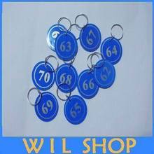 Free shipping 100pcs Garment Tags Key ID Labels number key Tag Cards with Digital tag key ring One to One Hundred