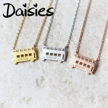 Daisies One Piece Pendant Necklace London Double Decker Bus Necklace London Bus Necklaces Pendants For Women(China)