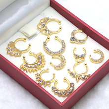 mix 11pcs/set New Arrival Crystal gold/silver Nose Ring Fake Septum Piercing Hanger Clip On Body Jewelry Nose Hoop