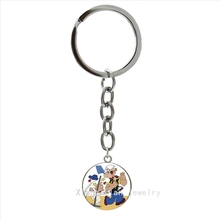 Silver jewelry plated keychain Cartoon Popeye Sailor art picture men gifts party accessories key chain father husband gift NS460(China)
