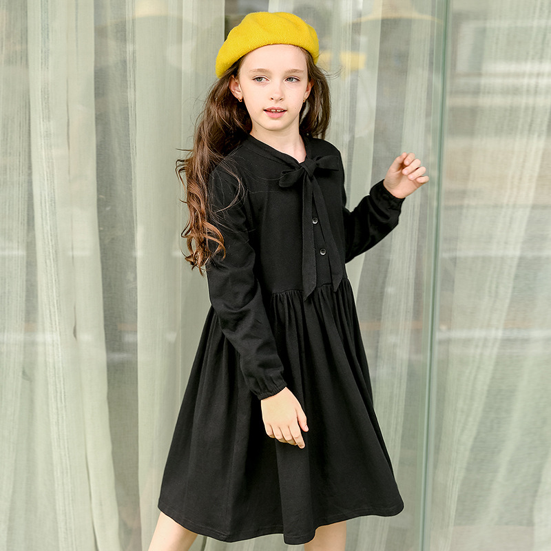 school teenage little girl dress 2017 autumn spring knee length kids princess dress long sleeve children dress little girls tops<br>