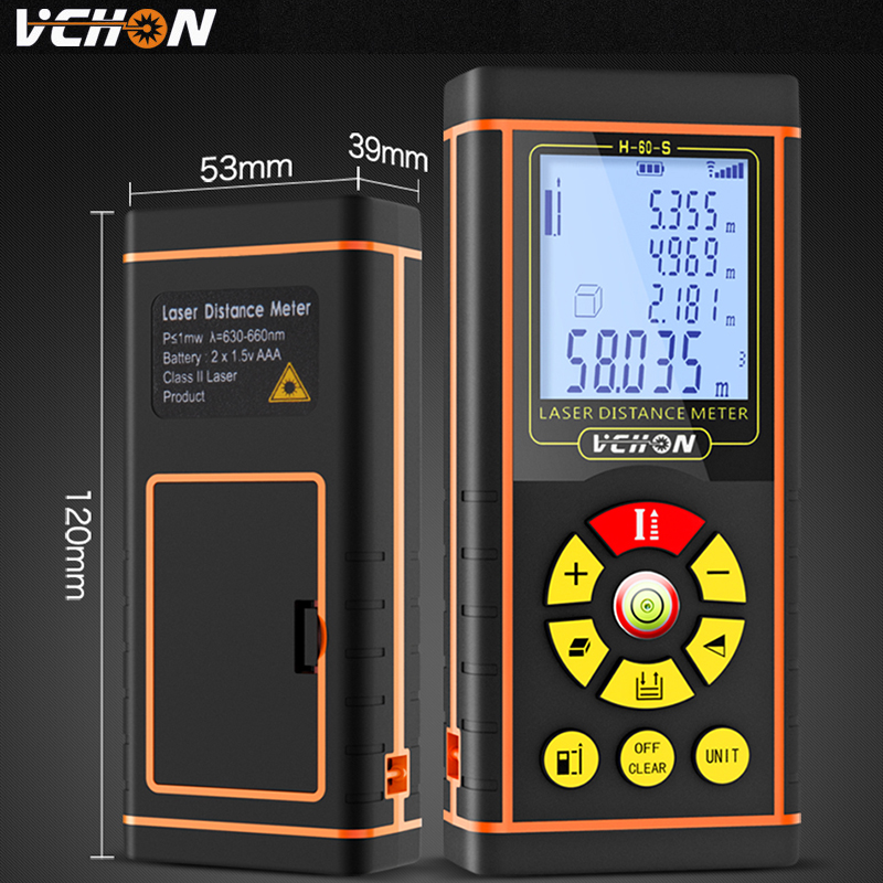 VCHON Laser Distance meter construction tools distance measure rangefinder digital optical tape measure laser meter 100m 80m 60(China)