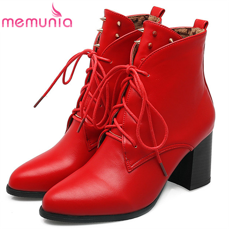 MEMUNIA Lace-up pointed toe high heels boots female PU soft leather rivets solid ankle boots for women fashion boots autumn<br>