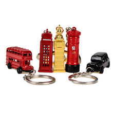 5pcs/set, BOHS London Red Telephone Booth Bus Mail Box Taxi Big Ben Model Small Keychain Souvenir Gift(China)