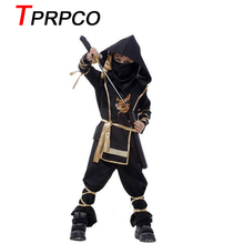 TPRPCO Children Super handsome Boy Kids black ninja warrior costumes Halloween party game performance clothing E40143(China)