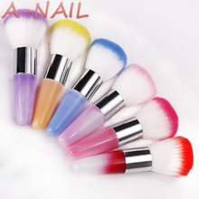 1pcs 5 colors Nail Art Dust Cleaner UV Gel Nail Dust Brush Powder Clean Acrylic UV Gel Powder Remover Makeup Foundation Manicure(China)