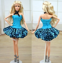 Doll Accessories Blue Clothes For Barbie Doll House Dress Party Gown Summer Short Dresses Vestidos for Barbie Doll