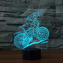 Fding New USB LED 3D Lamp mtb Mountain Bike athlete sport lover 3D Night Lights 7 Colors moon Lamp as Home Decoration LED Light(China)