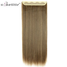 SNOILITE 26inch Hot Girl Hair Piece Synthetic Long Straight Clip in Hair Extension One Piece 3/4 Full Head Hairpiece
