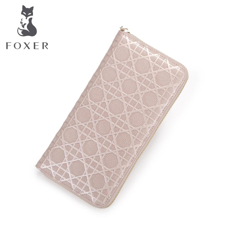 FOXER 2017 New women leather bag brands fashion Superior cowhide Embossing zipper wallet women purse fashion long women wallets<br>
