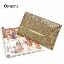 Osmond Fashion Women Evening Clutch Bags Envelope Bags Lady Sparkling Dazzling Sequins Purse Party PU Leather Handbag Wedding