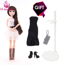 1 PC Fashion Sweet Doll Beautiful Dress Realistic Eyes Toys New Birthday Gift Joint Moving Body doll for barbie accessories(China)