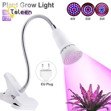 Cheap 2PCS=1Lamp+1Clip Led Grow Lights 8W 72LED Spectrum Indoor Plant Grow Light E27 Hydroponic System Growing Lamps for Flower