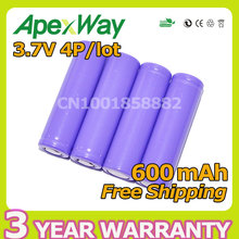 Apexway (Ping) 4pcs/lot 3.7V Li-ion Rechargeable Batteries 14500 AA 600mAh High Quality and Free Shipping for toys, flashlights(China)