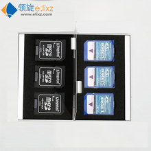 6 in 1 Aluminum Storage Box Bag Memory Card Case Holder Wallet Large Capacity For 6* SD Card(China)