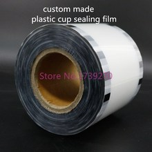 custom-make plastic cup sealing film with own logo,bubble tea sealing film,coffee sealing film(China)