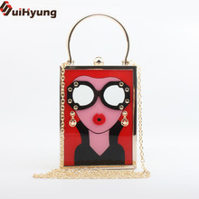 2017 New Female Casual Handbags Small Tote LADY Pattern Party Evening Bags Quality Acrylic Perfume Bottle Clutch Bags P