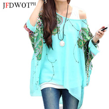 Womens Bohemian Floral Batwing Chiffon Blouse Summer Casual Printing Loose Bat Sleeve Chiffon Shirt Ladies Semi Sheer Tunic Tops(China)