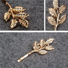 2 Pcs Fashion Lovely Leaves Golden Metal Punk Hairpin Hair Clip A Great Present jewelry hair accessories