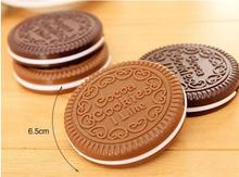 Cute Mini Pocket Chocolate Cookie Biscuits Compact Mirror With Comb